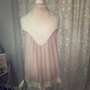 Love Culture high neck lace tan blouse